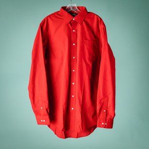 Lands End 17 36 Red Button Down Shirt NWOT